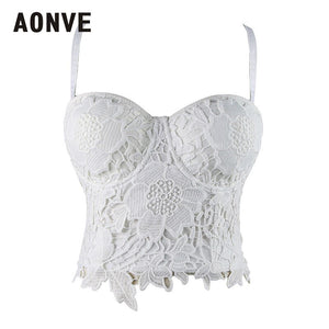 AONVE Women Steampunk Corset Bra Tops White Black Lace Bralette Push up Bras for Women Wedding Bridal Bustiers Top Plus Size 6XL
