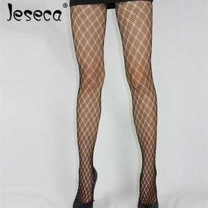 Jeseca New Sexy Fashion Fishnet Tights Pantyhose High Hosiery Free Size Seamless Tights Hollow Plaid Lady Thin Sexy Lingerie