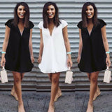 2019 Summer Brief Solid Black Loose Dama Verano Manga Corta Casual Fiesta coctel de noche playa Corto Vestido Short dress V neck