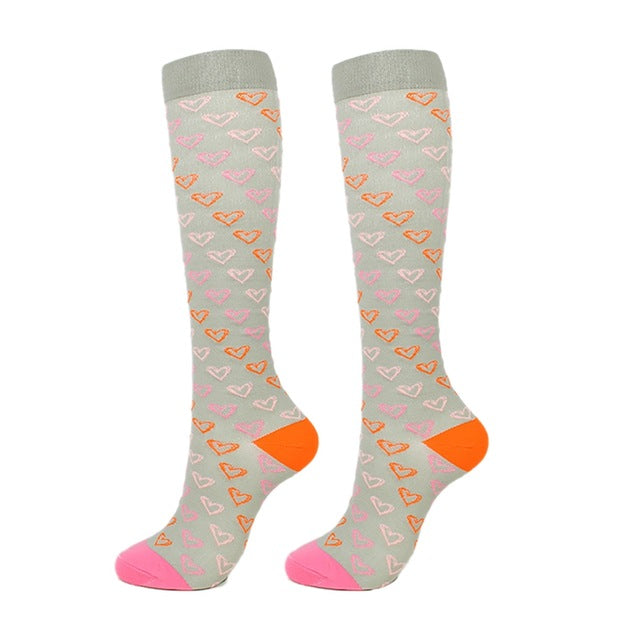 Compression Socks Unisex Knee High/Long Printed Socks Casual Running Flight Travels Footwear Accessories Breathable Quick-Dry