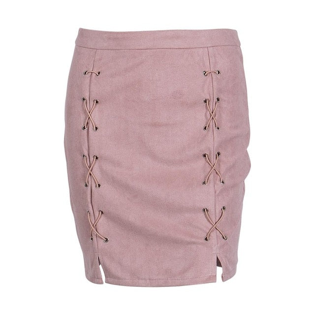 New Fashion Women Autumn Mini Skirt Sexy Ladies Single-breasted Hips-Wrapped A-line High Waist Pencil Skirts