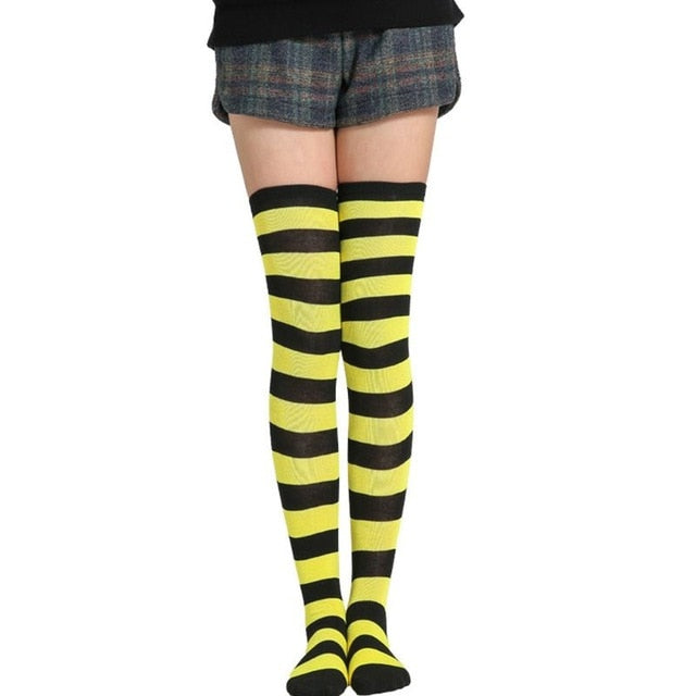 Women Girls Knitted Cosplay Long Contrast Color Stripes Over Knee Thigh High Stocking Fancy Dress Halloween Party Costume