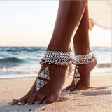 Bohemian Silver Bells Indian Women's Anklet Foot Bracelet Barefoot Sandals Chain Strap Beach Accessories Jewelry For Women