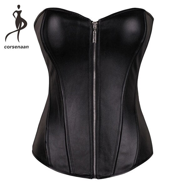 Push Up Women Black Faux Leather Bustier Burlesque Basque Fancy Dress Corset With G String 834#