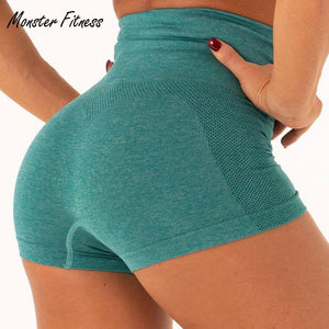 Monster Fitness Elastic Push Up Seamless Yoga Shorts Running Shorts Women Gym Short Slim Fit Shorts Fitness Workout Activewear