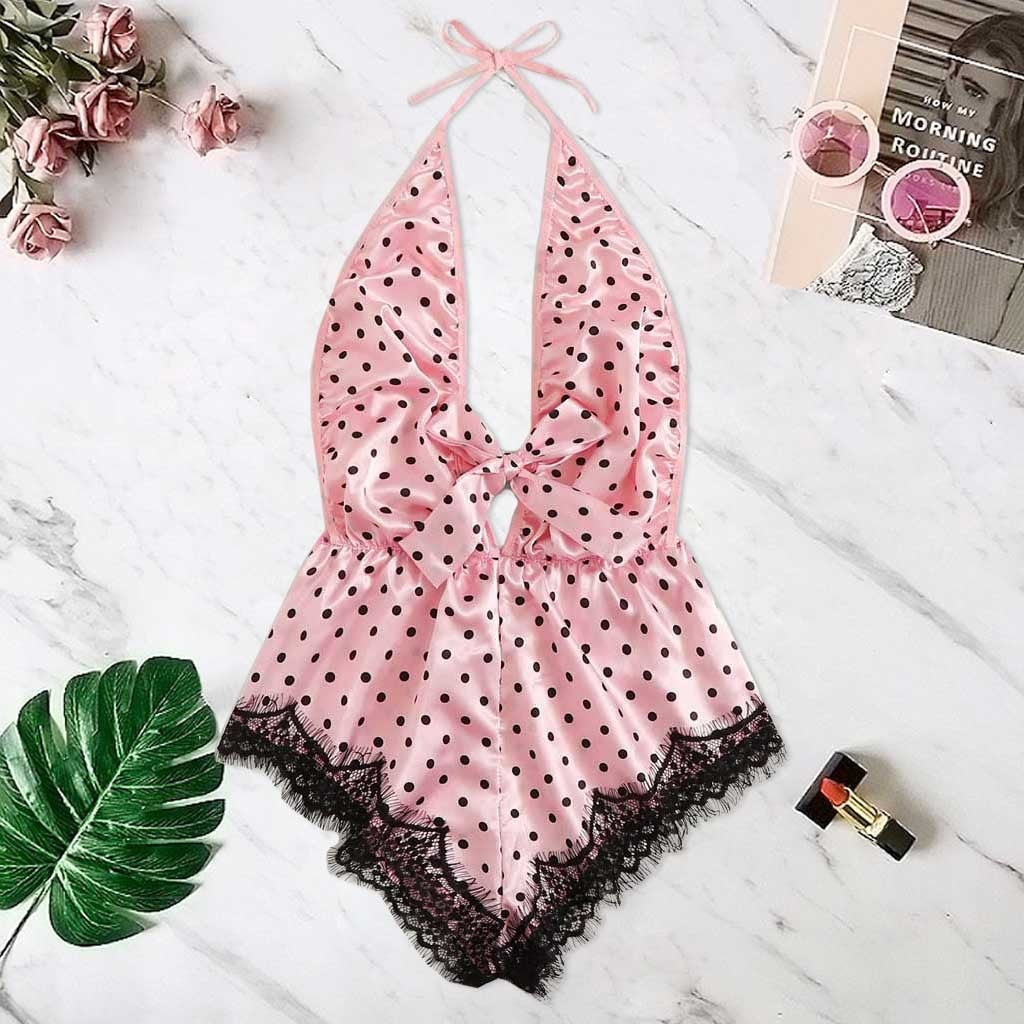 Sexy Lingerie Porno Sex Erotic Bodydoll Printing Stain Bow Backless Pajamas Silk Hot Girl Body doll Briefs
