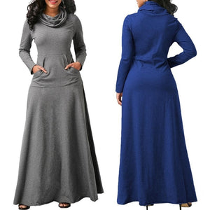 Plus Size 5XL Elegant Long Maxi Dress Autumn Winter Warm High Collar Women Long-sleeved Dress 2019 Woman Clothing With Pocket
