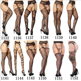 Women's Sexy Solid Striped Elastic High Waist Transparent Stockings Lingerie Garter Fishnet Pantyhose Open Crotch Tights