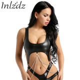 Chain Latex Bra Crop Top For Women Lingerie Shelf Bra Leather Strap with Metal Tassel Clips Push up Bralette Vest Tank Crop Tops