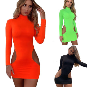 BKLD Women Summer Dress 2019 New Sexy Cut Out Dress Long Sleeve Neon Green Bodycon Mini Clubwear Party Dresses Women Evening