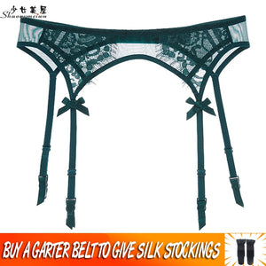 shaonvmeiwu Sexy transparent dark green eyelash lacy garter belt garter belt outfit appeal to send silk stockings