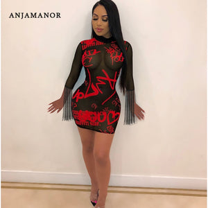 ANJAMANOR Graffiti Letter Print Black Sheer Mesh Sexy Club Dresses See Through Tassel Long Sleeve Bodycon Mini Dress D89-AB14