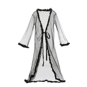 Meihuida Women Sexy Lingerie Sheer See-through Mesh Long Robe Bathrobe Perfect Robes Gown Babydoll Nightwear Sleepwear