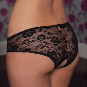 Plus Size Crotchless Transparent Panties Women's Thong Open Crotch M 6XL Lace Underwear Femme Hot Erotic Majtki Damskie PS5116