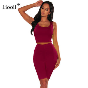 Liooil Neon Green 2 Piece Tight Set Women Bodycon Outfits Track Suits Sexy Tank Crop Top And Biker Shorts 2020 Summer Active Set
