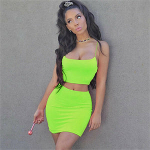 Sexy Women Two Piece Set Neon Evening Party Club Women Outfits Sexy Bodycon Crop Top Mini Skirt Women Set Lady Casual Streetwear