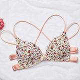 Liva Girl five-color one-piece Bra Gathered Adjustable Shoulder Strap Four Rows Of Buckles Without Steel Support Printed Bra