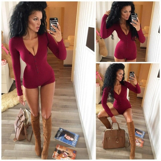 Sexy Women Bodysuit Long Sleeve Deep V Neck Bodycon Stretch Leotard Crop Tops Button Short Romper Pajamas Overalls for women