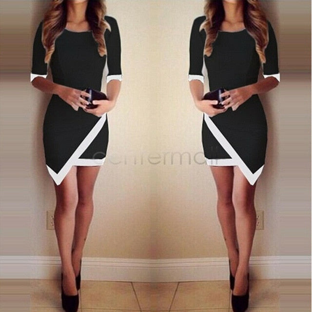 Elegant Half Sleeve Party Club OL Office Lady Mini Dress Irregular Tunic Split Clothes New Women Sexy Formal Bandage Dress