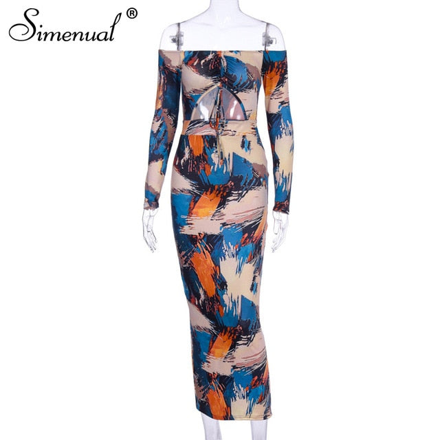 Simenual Off Shoulder Sexy Cut Out Sexy Women Maxi Dresses Skinny Print Party Clubwear Hot Long Sleeve Fashion Bodycon Dress New