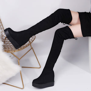 2019 Winter Women High Boots Fashion Hidden Heel Woman Long Boot Warm Plush Thigh High Boots For Women Winter Platform Shoes