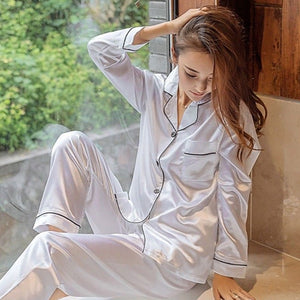Hot Sale Fashion Striped Single-breasted Long Sleeve Spring Autumn Silk Satin Lady Pajamas Set Women Sleepwear Sexy Lingerie