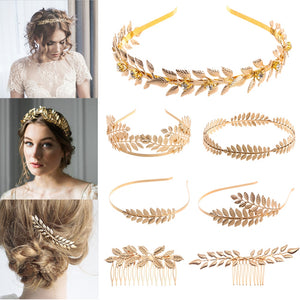 Mujer Western Fashion Retro Hair Bands For Women Wedding Metal Gold Leaf Butterfly Hair Headbands Girls Bride Hair Accessories