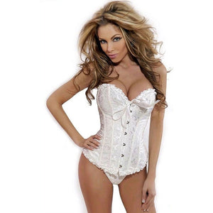 Women Sexy Satin Corset Brocade Floral Bustier Top Lace Up Back Lingerie Bodyshaper Shapewear Waist Exercise Corsets S~6XL