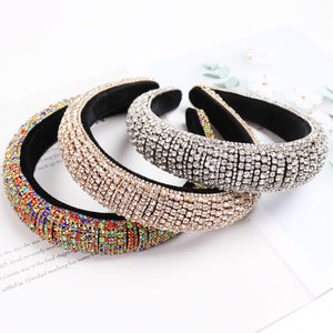 Colorful Baroque Full Crystal Headband For Women Luxury Shiny Padded Diamond Hairband Hair Accessories