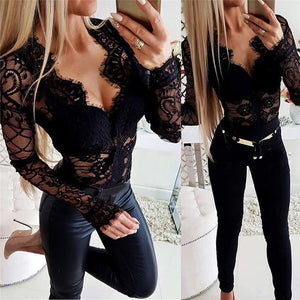 2020 Black lace Blouse Women Elegant Long Sleeve chemise Sexy V Neck Shirts Femme Autumn Spring Casual Blusa Tops Clothes