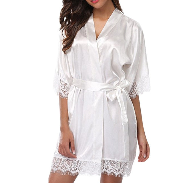 2019 New Fashion Women's Bathrobes Satin Robe Nightgown Sleepwear Pajamas Lingerie Night Mini Dress Lace Sexy Halt Sleeve