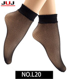 2017 Women's Ladies autumn sexy mesh silk socks for female ultrathin transparent nylon short socks with lace high elasticity