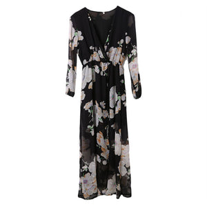 Summer Retro Boho Printing Floral Long Dresses Women Ladies Long Sleeve Evening Party Maxi Dress Vestidos