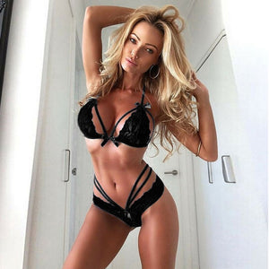 2PC Women sexy Lingerie Trim Straps Bra