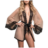 Mesh Lace Robes For Women Large Plus Size Sleepwear Solid Pajamas see through Robe Sexy lingerie Set Nightgown Bata de mujer