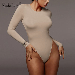 Nadafair Winter White Bodysuit For Women Long Sleeve Bodysuit Women Bodycon Black Bodysuits One-Piece Body Female 2020 Romper