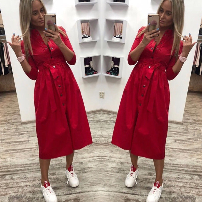2019 Summer Solid Knee Dress Women Casual Sashes A Line Party Dress Ladies Button Turn Down Collar OL Style Shirt Dress