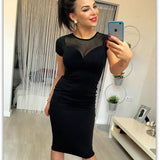New 2020 Women Fashion Casual Black Bodycon Zipper Dress Short-Sleeve O-Neck Mesh Sheer Spliced Summer Midi Pencil Party Dress