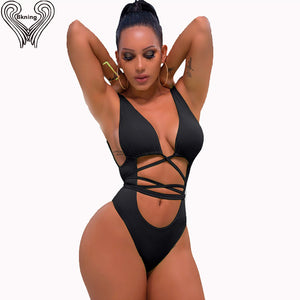 Bkning Thong Bandage Swimsuit One Piece Bathing Suit Women Push Up Swimwear 2020 Plunge Swimming Suits Female Body Wrap Monokini