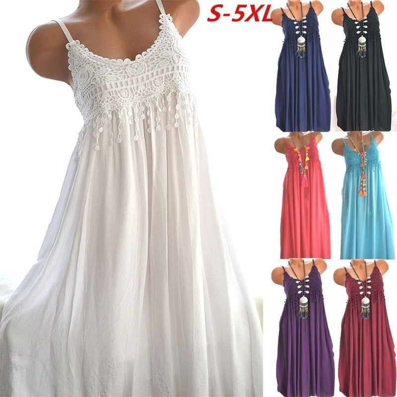Zogaa Brand Women Dress Ladies Fashion Sleeveless Crocheted Lace Summer Dress Empire Maxi Long Dress Plus Size White Dress