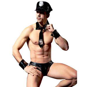 4 Pieces Fashion M-XL 2018 Police Men Faux Leather Lingerie Costume Sexy Halloween Adults Policemen Role Play Games Cosplay