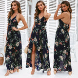 Boho Summer Floral Long Maxi Dress Women Sexy Halter Backless Straps Evening Party Beach Dresses Holiday Wear Sundress