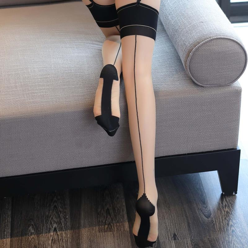 Hot Patchwork Sexy Stockings For Women Lingerie Retro Back Line Seam Japan Style Thigh High Medias Transparent Shine Stockings