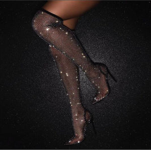 Hot Woman Black Bling Bling PVC Clear Sequins Diamond Fishnet Cuts Out Pointed Toe Heel-Strap Over The Knee Thigh Socks Boots