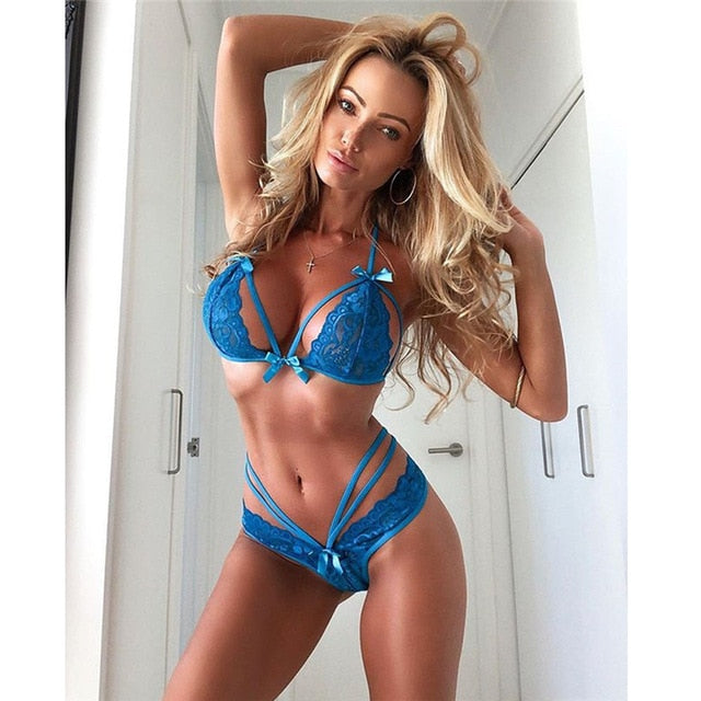 Womens Sexy Set exotic Lingerie Lace Bra and Panties Mesh porno Underwear Elegant ladies Sleepwear G-string Suit lenceria