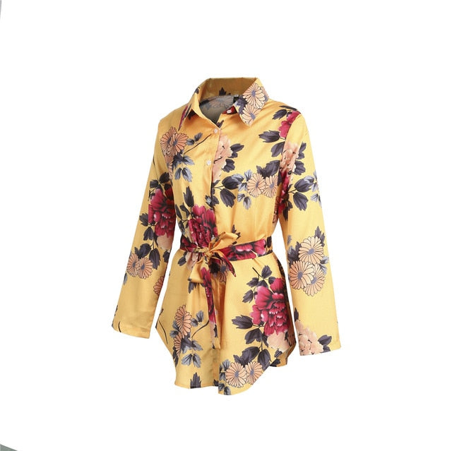 Hot Sale Women Floral Satin Silk Long Sleeve Ladies T Shirt Tops Loose Short Mini Dress Summer Beach Dress