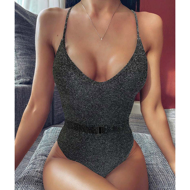 INGAGA Push Up One Piece Swimsuit High Cut Swimwear Women Sexy V-neck Bodysuit Solid Belted Bathers 2020 New Strap Bathing Suit