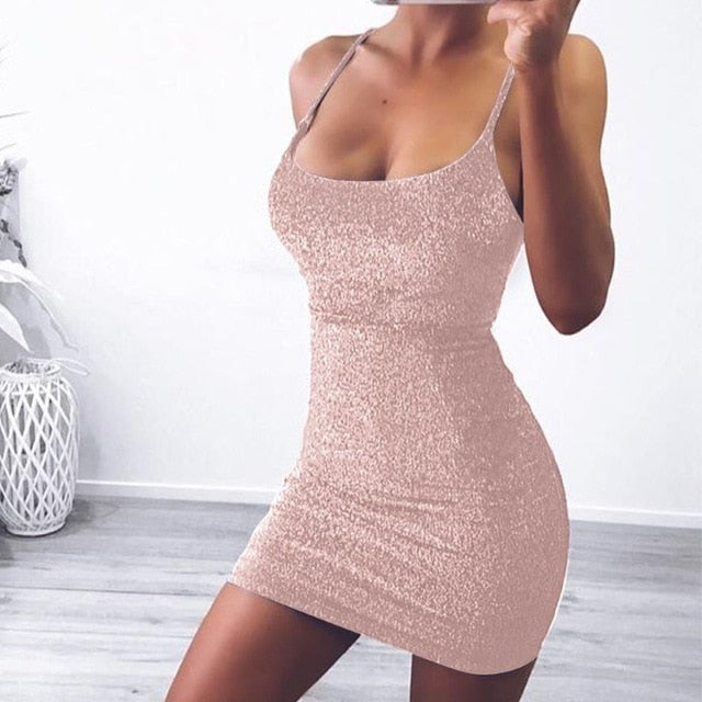 Lucyever Fashion Glitter Off Shoulder Mini Dresses Ladies Sexy Backless Bodycon Dress Women 2020 Summer Elegant Pink Party Dress