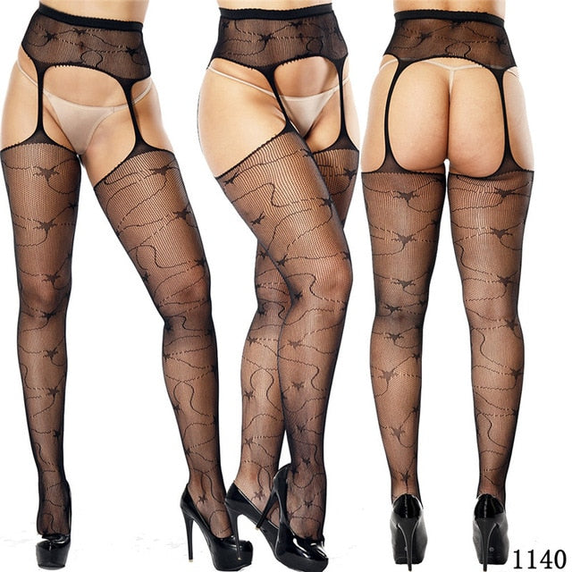 Women Sexy Lingerie Stockings Garter Belt Fishnet Tights Transparent Pantyhose  Thigh High  Cheap Embroidery Stockings
