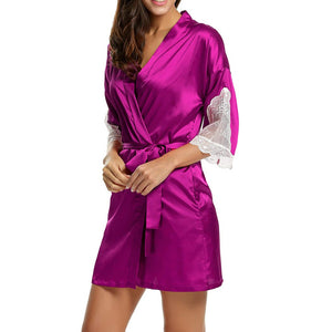 Women Lace Silk Bridesmaid Bride Robe Short Satin Wedding Kimono Bathrobe Sleepwear Nightgown Elegant Pajamas